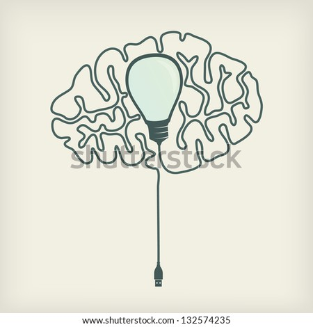 Lightbulb on usb cable. Raster JPG version also available. - stock vector