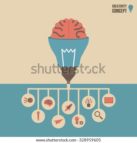lightbulb tree with conceptual root, retro vintage style - stock vector