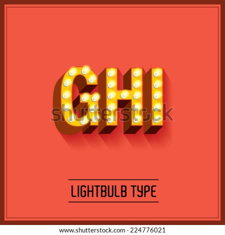 lightbulb typeface/font vector/illustration g,h,i - stock vector