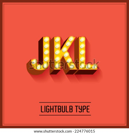 lightbulb typeface/font vector/illustration j,k,l - stock vector