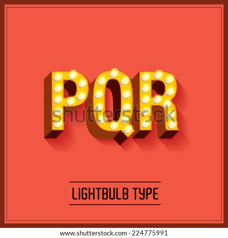 lightbulb typeface/font vector/illustration p,q,r - stock vector