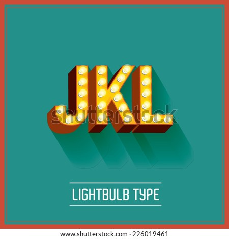 lightbulb typeface vector/illustration j,k,l - stock vector