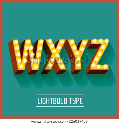 lightbulb typeface vector/illustration w,x,y,z - stock vector