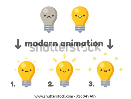 Lightbulb with cute cartoon face animation frames. Turning on from sad to happy. Modern vector style. - stock vector