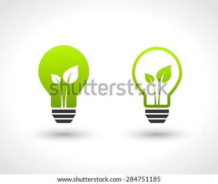 Lightbulb with leaves as green energy concept - stock vector