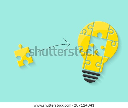 Lightbulb with puzzle piece as idea and solution concept - stock vector