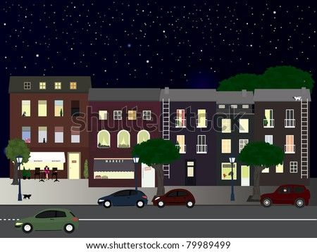 Lighted street at summer night. Vector illustration - stock vector