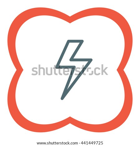 Lightening bolt sign line vector icon. Power supply sign. Electricity symbol.