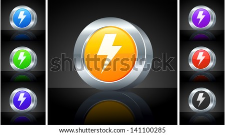 Lightening Icon on 3D Button with Metallic Rim Original Illustration