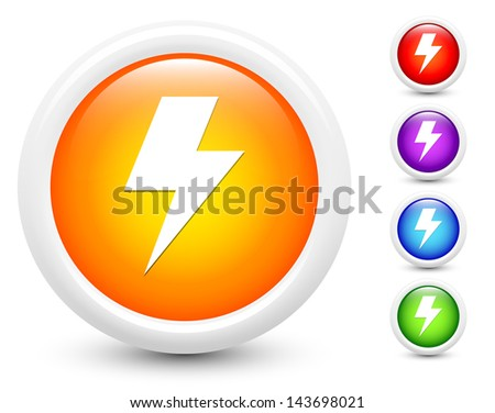 Lightening Icons on Round Button Collection Original Illustration - stock vector