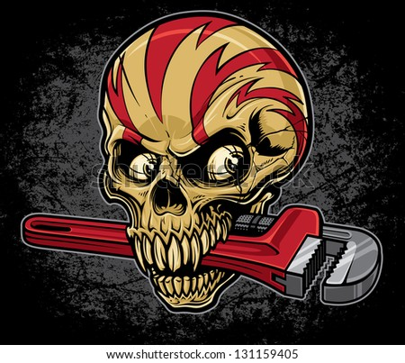 Lightening skull with an adjustable pipe wrench in his mouth on a heavily textured grunge background. Top of skull is wrapped with lightening bolt graphics. - stock vector
