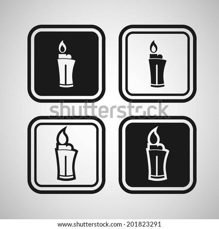 Lighter fire icon - stock vector