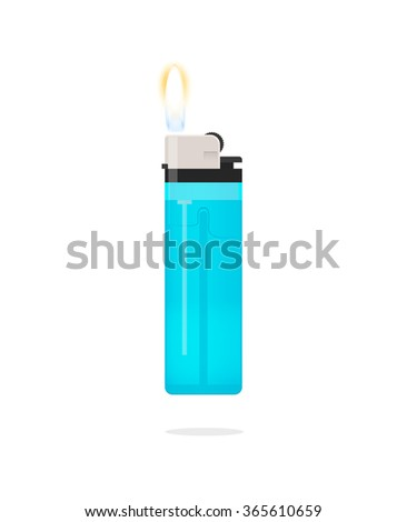 Lighter icon vector illustration, lighter with fire flame, hand lighter flaming, blue pocket burning lighter, flat realistic modern design isolated on white background - stock vector