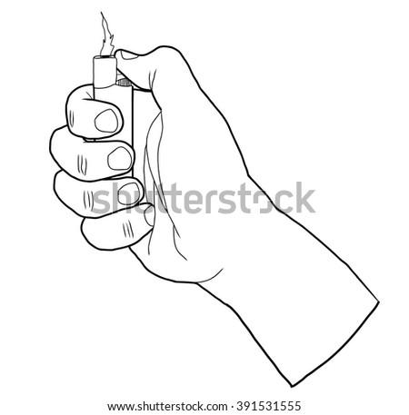 Lighter in hand - stock vector