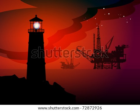 Lighthouse and oil rigs silhouettes at night, vector illustration