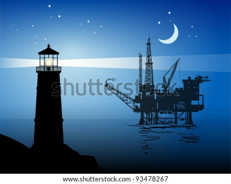 Lighthouse and Sea Oil Rig Drilling Platform, vector illustration - stock vector