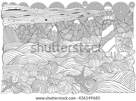 Lighthouse and shells, seascape. Coloring book page for adult. A4 size. Waves, sea, art background. Pattern for coloring book. Hand-drawn, doodle, vector, zentangle, tribal design elements.  - stock vector