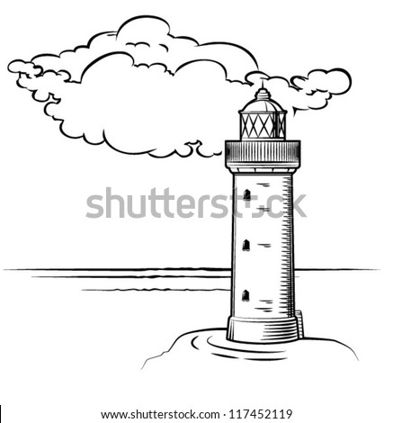 lighthouse at day with a big cloud, drawn - stock vector