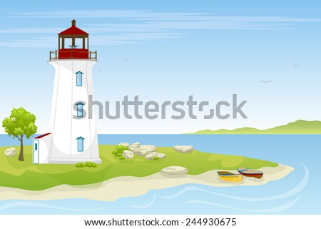 Lighthouse by the sea - stock vector