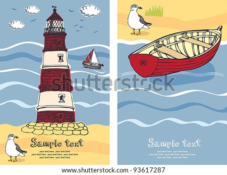 Lighthouse card - stock vector