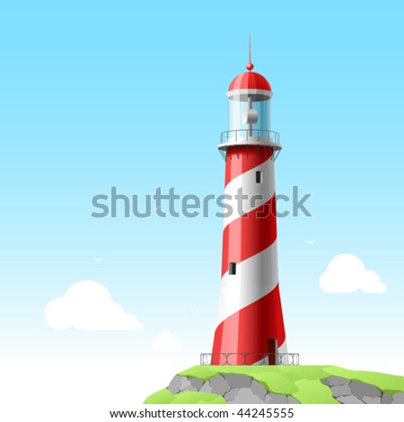 Lighthouse. Detailed vector. - stock vector