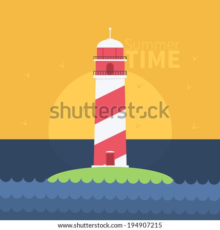 Lighthouse Flat illustration - stock vector