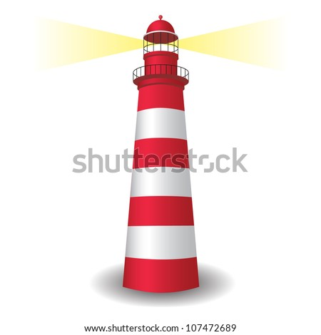 Lighthouse icon with light - stock vector