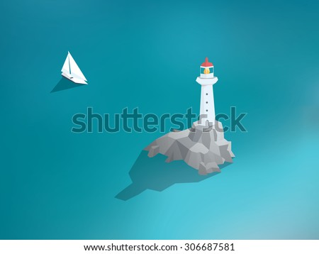 Lighthouse in ocean. Low poly design building. Sea scenery with yacht or sailing boat. Eps10 vector illustration. - stock vector