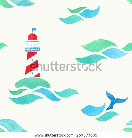 lighthouse in sea. watercolor seamless pattern - stock vector