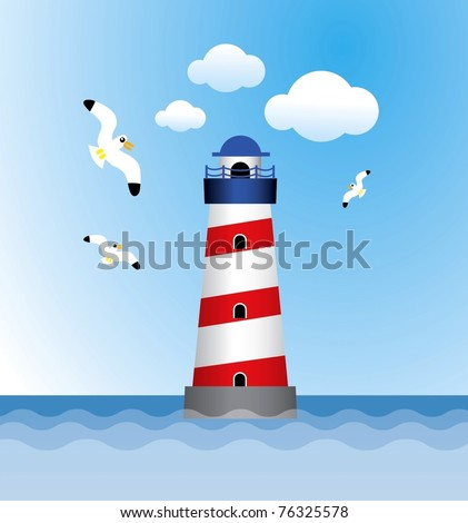 lighthouse in sea with seagull bird vector graphic - stock vector