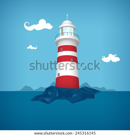 Lighthouse in the ocean , vector illustration - stock vector
