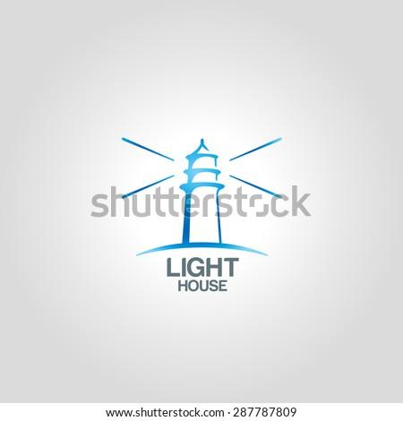 Lighthouse logo template. Corporate branding identity - stock vector
