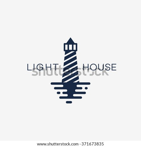 Lighthouse logo template design. Vector illustration. - stock vector