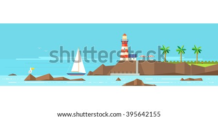 Lighthouse on a rocky shore. The boat near the shore. Reefs. Tropical Beach. - stock vector