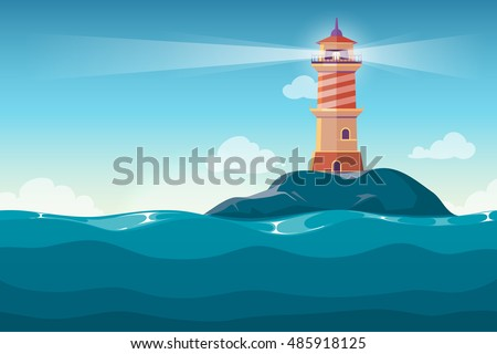 Lighthouse on rock stones island cartoon vector background. Beacon in ocean for navigation illustration