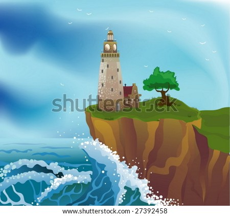 lighthouse on the cliff - stock vector