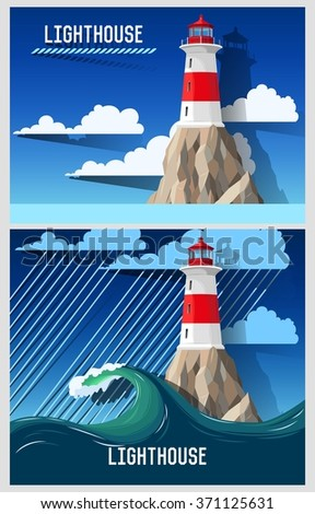 Lighthouse on the rock - stock vector