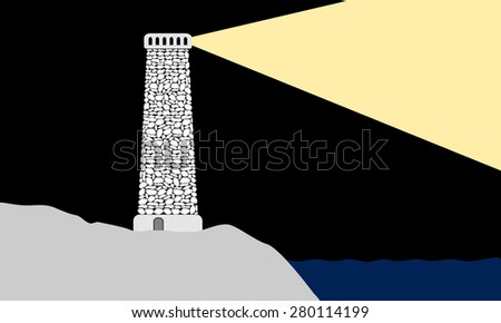 Lighthouse on the seashore - stock vector