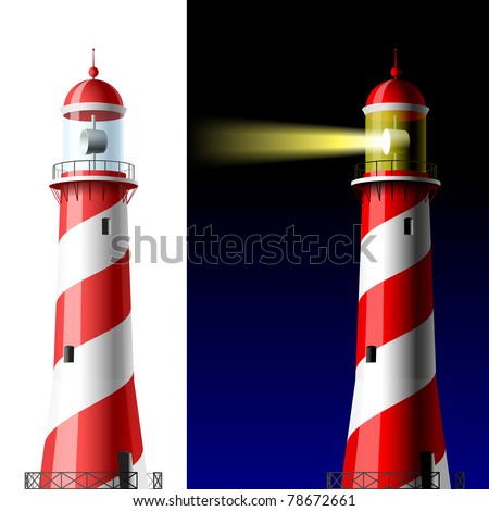 Lighthouse on white and dark. Vector. - stock vector