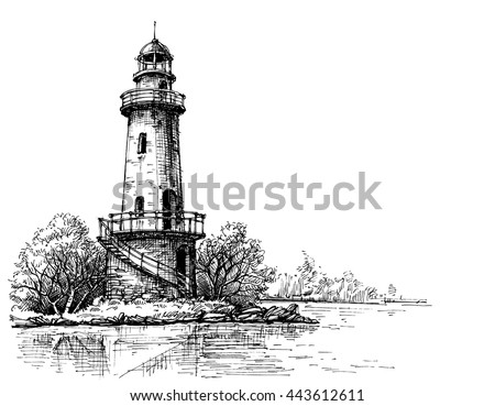 Lighthouse pencil drawing. Etch style - stock vector