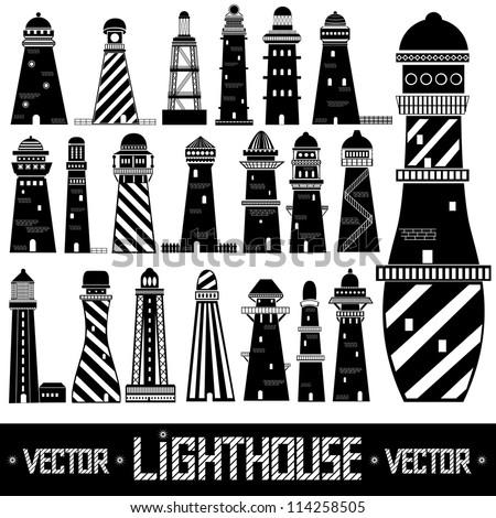 lighthouse set silhouette - stock vector