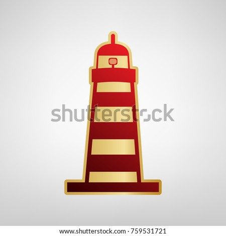 Lighthouse sign illustration. Vector. Red icon on gold sticker at light gray background.