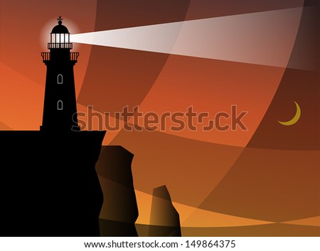 Lighthouse silhouette at night, vector illustration
