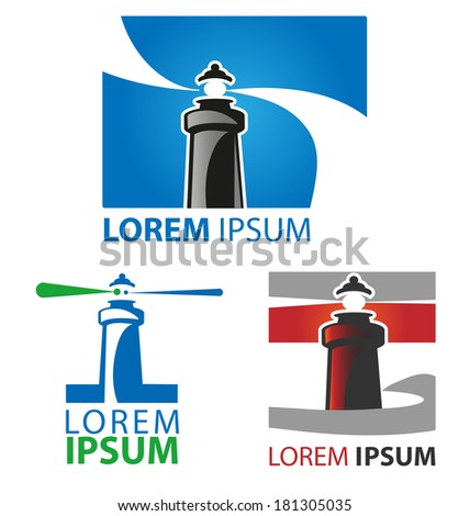 lighthouse symbol set on white background - stock vector