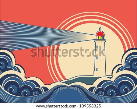 Lighthouse with blue sea.Vector color nature poster - stock vector