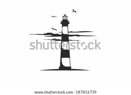 Lighthouse with clouds - stock vector