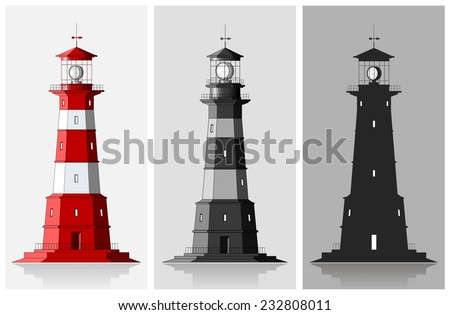 Lighthouses. Set of of large lighthouses over grey background - stock vector