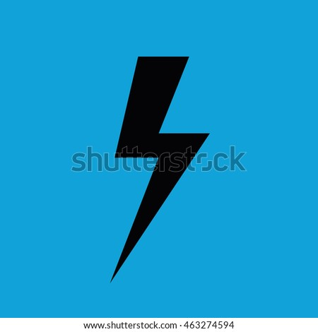 Lighting Bolt Vector Icon Thunderbolt Symbol Weather Forecast Blue Background