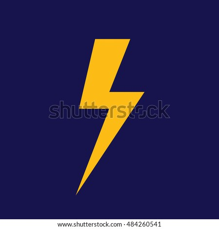 Lighting Bolt Vector Icon Yellow Thunderbolt Symbol Weather Forecast Blue Background