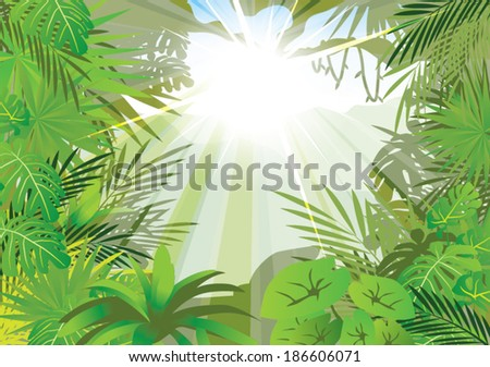 lighting jungle background ,vector - stock vector